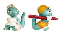Spielzeug: Kinder Überraschung Alle 10 Drolly Dinos Figuren von 1993. Grüne niedliche Dinosaurier Figuren