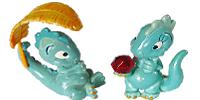 Die Drolly Dinos aus dem Ü-Ei. Grüne Dinofiguren - Dinos - Saurier zu günstigen Preisen (Handbemalt)