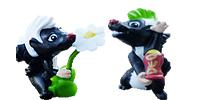 Duften Typen und Smarten Stinker Figuren von Ferrero. Handbemalte Stinktierfiguren