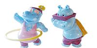 Die Happy Hippos im Fitness - Fieber. Figuren aus dem Überrashcungsei von Ferrero