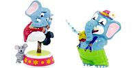 Die Funny Funten in der Manege. 10 Elefanten Figuren aus dem Ü-Ei in der Manege - Zirkus