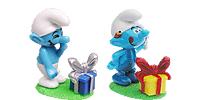 Die Schlümpfe aus dem Kinder Überraschungsei von Ferrero 2008 mit Papaschlumpf, Schlumpfine, Geburtstagsschlumpf - Smurf Peyo