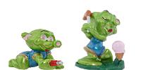 Die Super Spacy. Kleine grüne Mädchen aus dem All. Alienfiguren UFO