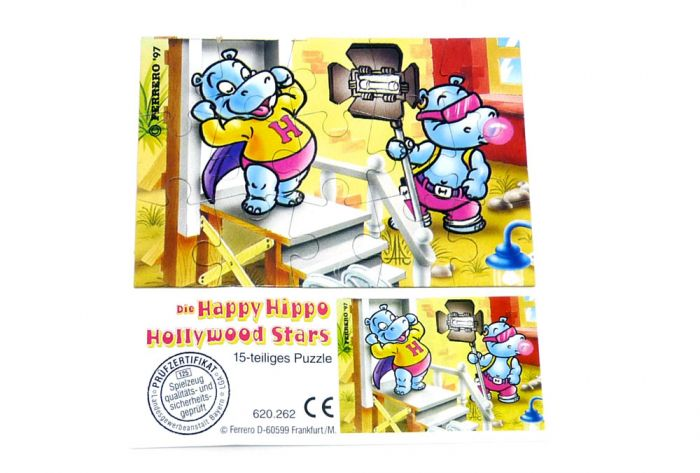 Happy Hippo Hollywood Puzzlecke oben links mit Beipackzettel