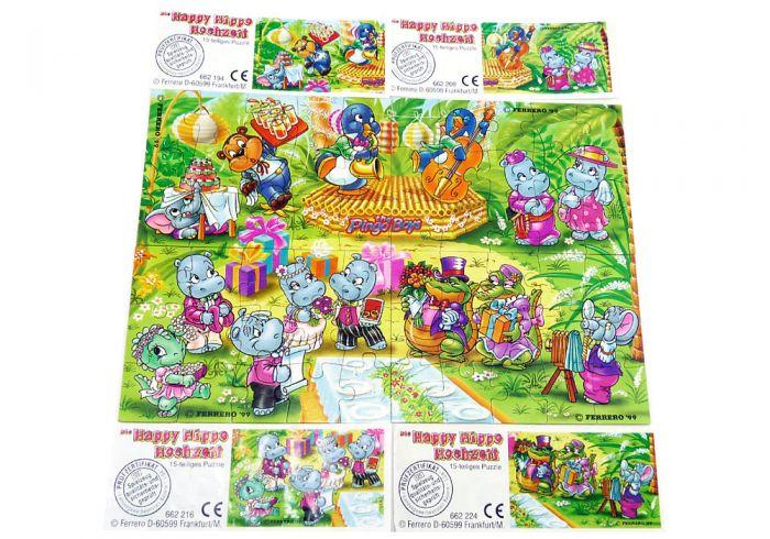 Alle 4 Puzzleecken von Happy Hippo Hochzeit mit allen Beipackzetteln Superpuzzle