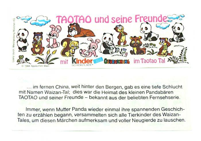 Beipackzettel zur Serie Tao Tao von 1983