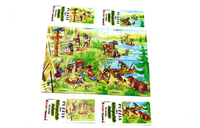 Schlangenfluss-Indianer, alle 4 Puzzle mit 4 Beipackzetteln (Superpuzzle 60 Teile)
