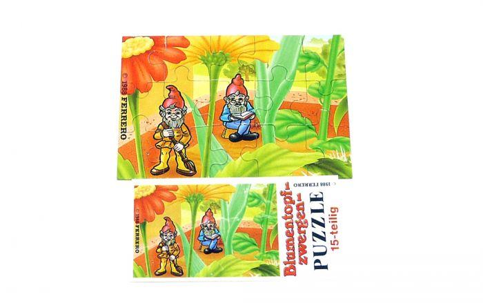 Puzzlecke oben links von den Blumentopfzwergen mit Beipackzettel (15 Teile Puzzle)