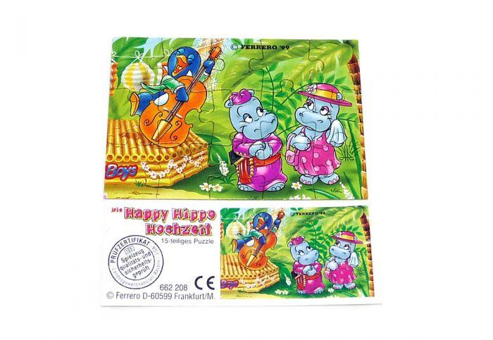 Happy Hippo Hochzeit Puzzle mit Beipackzettel (oben rechts)