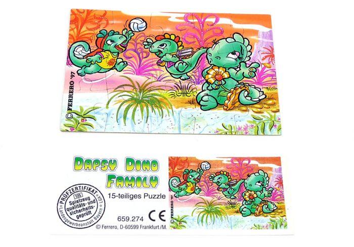 Die Dapsy Dino Family Puzzleecke oben links mit Beipackzettel (15 Teile Puzzle)