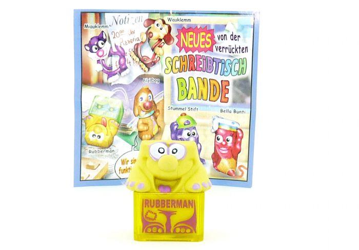 Rubberman gelb und Beipackzettel (Schreibtischbande 2004)