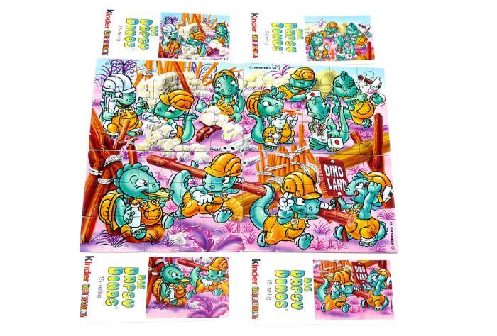 Die Dapsy Dinos als Bauarbeiter, alle 4 Puzzle (Superpuzzle)