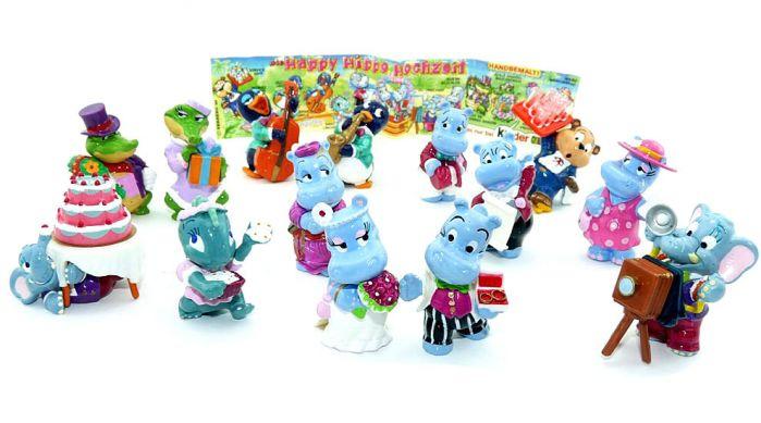 Alle 14 Figuren der Happy Hippo Hochzeit (Komplettsatz)