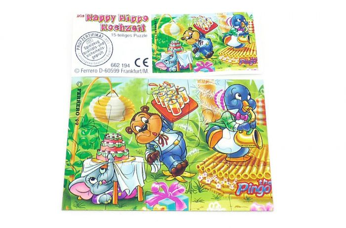 Happy Hippo Hochzeit Puzzle mit Beipackzettel (oben links)
