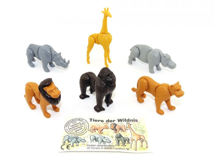Tiere der Wildnis. Alle 6 Steckfigurern der Serie und ein Beipackzettel dazu