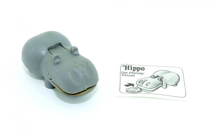 Hippo der Pfennigfresser mit Plättchen und Bauanleitung (Alte Ü-Ei Inhalte)