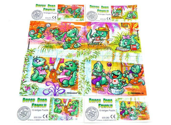 Die Dapsy Dino Family, alle 4 Puzzleecken mit Anleitung (Superpuzzle)