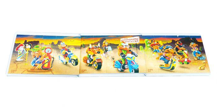 Motocoyoten, alle drei Puzzle der Motocoyoten und deren Beipackzettel