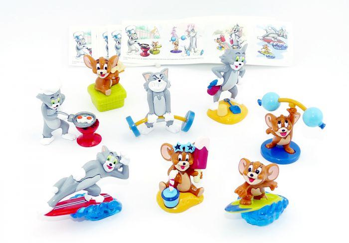 Alle 8 Figuren von Tom und Jerry aus dem Ü-Ei + 8 Beipackzettel