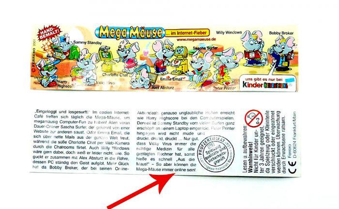 """Mega Mäuse Beipackzettel wo das Wort """"online"""" auf der Rückseite klein geschrieben ist"""