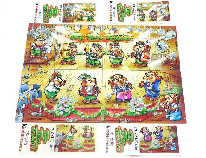 Alle 4 Puzzleecken der Top Ten Teddies mit 4 Beipackzettel ( Das Superpuzzle zur Serie)