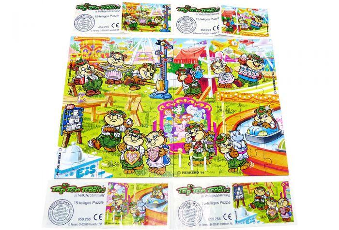 Top Ten Teddies Volksfest, alle 4 Puzzle mit Beipackzettel (Superpuzzle aus 60 Teilen)