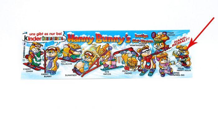 Hanny Bunnys lustige Ski-Hasen Beipackzettel mit grünen Fingerabdruck (Druck - Variante)