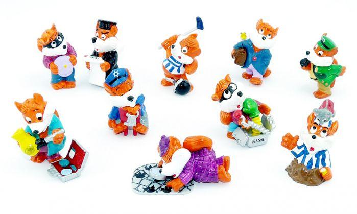 Alle 10 Figuren der Fancy Fuxies Figuren von 1998 (Komplettsatz)