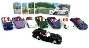 Satz Roadster Automodell mit den Farbvarianten und 4 Beipackzeteln