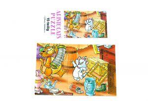 Puzzleecke der Aristocats unten rechts mit Beipackzettel (15 Teile Puzzle)