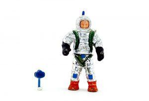Astronaut mit kleinem steckbarem Geigerzähler (Alte Ü-Ei Steckfigur)