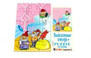 Puzzleecke oben rechts von den Badezimmerzwergen mit Beipackzettel (15 Teile Puzzle)