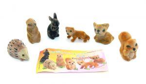Figurensatz Kucciolotto Family. 6 flauschige Tierfiguren mit Beipackzettel [Firma Bauli]