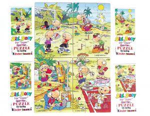 Alle 4 Puzzleecken von Bill Body mit den vier Beipackzetteln (Superpuzzle)
