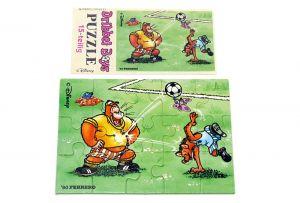 Puzzleecke der Dribbel Boys unten links mit Beipackzettel (Ü-Ei Puzzle)