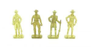 """Metallfigurensatz  """"Berühmte Westernmänner II"""". Alle 4 Figuren der Serie in Gold"""