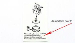 """Druckfehler von der Bauanleitung der F.F. Manege dauerhaft mit zwei """"tt"""" (Tippfehler)"""