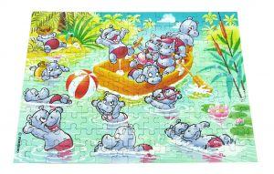 Maxi Ei Puzzle 150 Teile der Happy Hippos von 1988 mit Beipackzettel