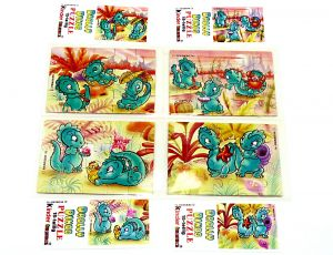 Drolly Dinos, alle 4 Puzzleecken mit vier Beipackzetteln (Superpuzzle)