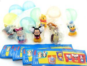 Disneys Finger Puppets Figurenset. Alle 7 Figuren der Serie mit Zettel und Ei Kapsel  [Firma Tomy]