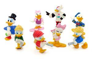 Donald Duck Figuren Set mit 8 Hartplastik Figuren. Höhe der Figuren bis zu 6cm [Firma Nestle]