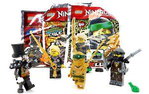 Lego Ninjago 4 Figuren als Set , Der Eisen Baron , Cole , Lloyd und der goldene Ninja