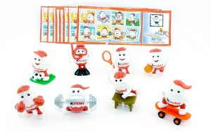 Komplettsatz Kinderino Sport Figuren mit 8 Beipackzetteln