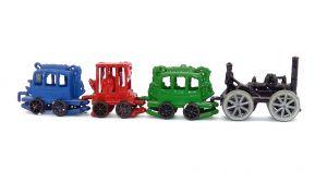 Schwarze Metall Lok mit 3 Waggons in grün, rot und blau