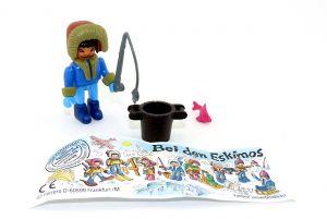 """Angler Steckfigur aus dem Satz  """"Bei den Eskimos"""" von 1994 mit Beipackzettel"""