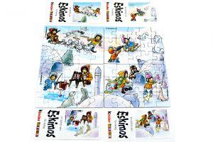 Eskimos, alle 4 Puzzle mit allen Beipackzetteln (60 Teile Superpuzzle)
