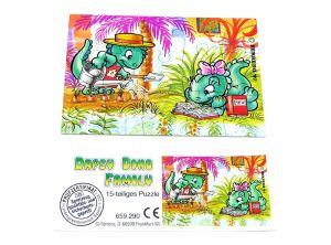 Die Dapsy Dino Family Puzzleecke oben rechts mit Beipackzettel (15 Teile Puzzle)