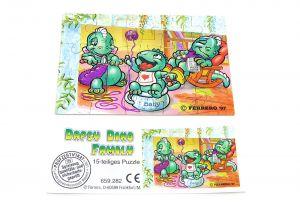 Die Dapsy Dino Family Puzzleecke unten rechts mit Beipackzettel (15 Teile Puzzle)