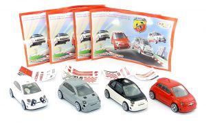 Satz FIAT ABARTH Autos aus Italien + alle 4 Beipackzettel Aufkleber dazu (Modellautos)