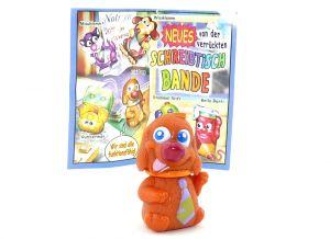Filzi Dog mit orange Halsband und Beipackzettel (Schreibtischbande 2004)